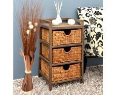 Cómoda estilo rústico marrón para pasillo, baño y vestíbulo en estilo 'Shabby' con tres cestas en ratán