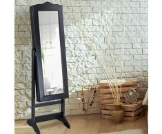 Nova Armario joyero con Espejo inclinable, Puerta bloqueable con Llaves, Vintage, Color Negro - Espejo, Armario para Joyas con Espejo