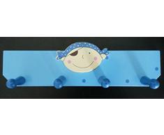 young schwinn DESIGN - Perchero para niños (madera, 4 perchas, 350 x 65 x 115 mm), diseño de pirata, color azul