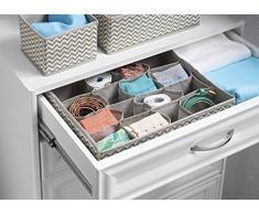 mDesign - Chevron - Organizador de tela para almacenamiento en el cajón del armario/la cómoda, para ropa interior, soquetes, brasier, corpiño, calzas, pantimedias - 16 compartimientos - Gris topo/natural