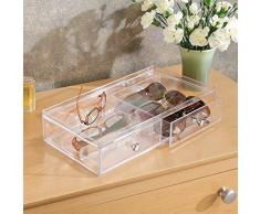 InterDesign Drawers Caja para guardar gafas | Caja organizadora apilable para gafas, gafas de lectura y gafas de sol | Caja para gafas con 2 cajones | Plástico transparente