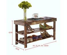Zapatero Zapatero de madera natural Simple botas de zapato Organizador del almacenaje del estante del sostenedor Cambio de múltiples capas El taburete del zapato Estante de almacenamiento multifuncional Organizador de calzado ( Tamaño : 80*29*45cm )