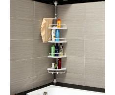 Songmics-Möbel BCB002 - Rinconera telescópica para ducha y bañera (regulable de 120 a 300 cm, 4 estantes)