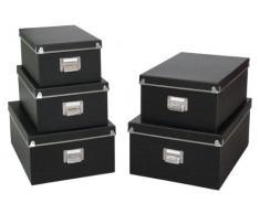 Zeller 17950 - Juego de cajas de cartón para almacenaje (5 unidades; 40 x 29 x 17 cm; 38 x 27,3 x 15,5 cm; 35,5 x 24,5 x 14,5 cm; 33,5 x 22,5 x 13,5 cm; 30,5 x 19,7 x 12,5 cm), color negro