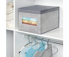 InterDesign - Aldo - Caja-organizadora de tela, para armario; guarda ropa, zapatos, carteras, pantalones - grande - Gris