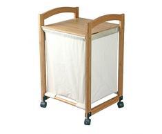 MSV MS078 - Cesta de bambú para ropa con ruedecillas y bandeja, 45 x 41 x 73 cm, color beige