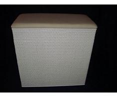 """'Cesto 2 compartimento Compaginador taburete de ratán de color blanco, con dos compartimentos fabricado en Alemania """""""