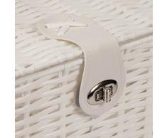 WoodLuv – Cesto resina Tejido cesta caja de almacenaje con tapa y candado, color blanco, tamaño mediano