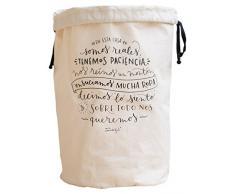 Mr. Wonderful Bolsa para la Colada En Esta Casa Somos, Algodón, Crudo, 31x60x3 cm