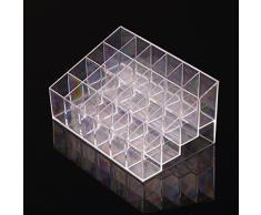 3bae70bb3 Hosaire Caja acrílica Estante de maquillajes Maquillaje Cosméticos Joyería  Organizador color transparente (24 celosías)