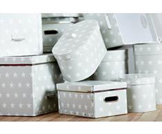 BIGSO BOX 410184401Z - Caja de almacenaje, diseño con estrellas, color gris