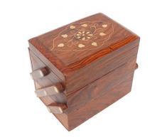 WhopperIndia 3 compartimento Joyero de madera para mujer, estuche organizador de joyero de viaje, vitrina de almacenamiento para collar, aretes, anillos, pulseras