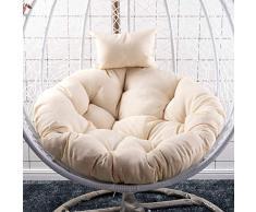 WGG Canasta colgante Cojín de silla Cojines de silla giratoria Cojines de silla de mimbre redondos Cojín de repuesto de nido grueso Lavable,Blanco crema,D105cm (41inch)