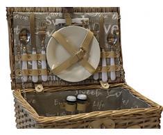 elbmöbel cesta de picnic Completo Porcelana 2 personas mimbre de picnic – Cesta de mimbre Madera Mimbre Cesta de picnic picnic Set