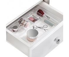 iDesign Organizador de maquillaje, separador de cajones extensible en plástico, bandeja extensible ideal para guardar accesorios de belleza y baño, transparente