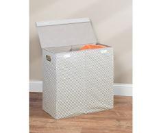 InterDesign Axis Cesta de lavandería con tapa, bolsa de ropa sucia de polipropileno con 2 compartimentos y con diseño en zigzag, gris topo/crudo