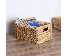 TIANLIANG04 Canasta de mimbre rattan tejido caja rectangular que contiene los cosméticos juguetes caja de almacenamiento domésticos,30x20x16cm.