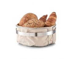 Zeller 27248 cesta de pan con bolsa, Metal/algodón, beige, 22 x 22 x 10,8 cm, algodón, beige, 22 x 22 x 10.8 cm