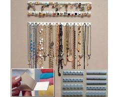 9 en 1 colgador de pared para colgar joyas, organizador de collares Tamaño libre blanco
