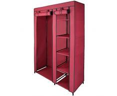 Armario ropero de tela guardarropa de tejido SMART 110 x 45 x 175 cm con barra de armario y cremallera de BB Sport, Color:rojo cereza