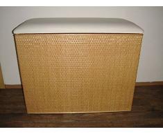 """Cesto para la ropa sucia 3 taburete de ratán con clasificador miel con tres compartimentos """"Made in Germany"""""""