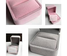 JUNGEN® Estuche de joyería de terciopelo, Organizador de Joyerías, Caja octogonal para Anillo Pendiente (Rosa y Gris)