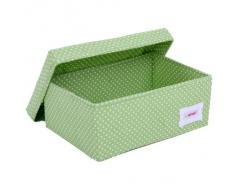 Minene - Caja de almacenaje pequeña con tapa, diseño de lunares, color verde