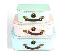Juego de 3 colores Pastel azules y verdes diseño rosa de cajas de almacenaje con tapa en maletas