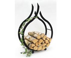 DanDiBo Chimenea Madera Estante Interior Chimenea Soporte de madera Llama 78 cm madera cesta chimenea madera soporte madera Estantería