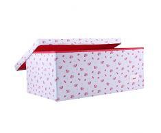 Minene – Caja de almacenaje con tapa azul con rojo flores – Star caja de almacenaje, tamaño grande caja de almacenamiento de tela – Ideal para guardar juguetes, Kids almacenamiento