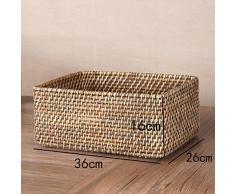 Rattan se puede superponer cesta, escritorio de cosméticos cesta, snack de control remoto cestas de almacenamiento