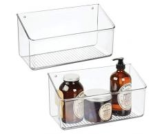 mDesign Juego de 2 estantes de pared grandes – Práctica cesta de plástico para colgar en todos los cuartos – Cajas de ordenación en plástico resistente – transparente