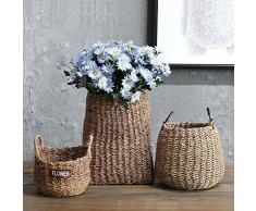 SQBJ Pastoral americana cesta de mimbre artesanales tejidas a mano de flores secas maceta canasta de flores en el salón decoración,5 Cesta mimbre verde primavera rosa,en