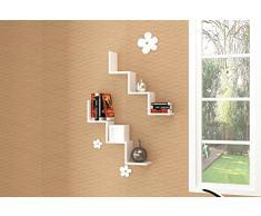 Songmics Estante de 2 sets para la sala, estanterías de pared para libros, DVDs, cosas pequeñas Cubos LWS67W