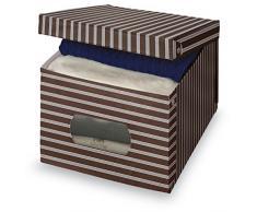 Vivir caja de almacenamiento de la ropa de vinilo Domopak rayas Marrón Talla XL