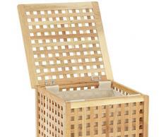 Wenko 18602500 Nordic - Cesto para la colada de madera de nogal con saco para ropa (46,3 x 67 x 46,1 cm), color marrón