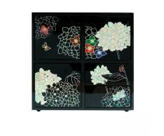 Diseño de incrustaciones de madreperla diseño de flor de loto negro lacado de madera de joyería adorno de joyero con cajón y botella de fragancia funda organizador en el pecho en caja de regalo