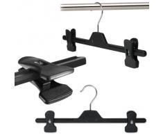 Hangerworld - Perchas de plástico con pinzas (34 cm, 10 unidades), color negro