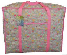 Bolsa de almacenamiento de gran tamaño para el lavado, almacenamiento de juguete, bolsa de lavandería. Oveja azul y rosa en el patrón de nubes