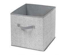 mDesign - Caja-cubo, de tela, organizadora del armario del cuarto del bebé; guarda peluches, toallas, juguetes, sábanas - Gris