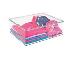 mDesign - Caja organizadora para almacenamiento en armario; organiza ropa, camisas, blusas, remeras, camisolas - Claro