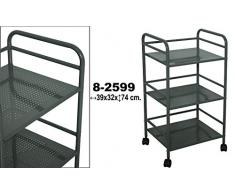 DRW - Carro - estantería de Metal de 3 baldas con Ruedas de PVC en Gris 39x32x74cm