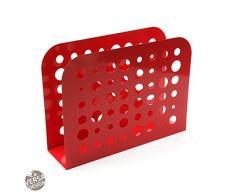 Versa 20200413 Revistero Rojo Tecno, 26x10x35cm, Metal, Organizador