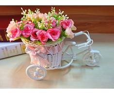 ETGtek(TM) Flor Paquete 1pcs hecha a mano de ratán florero canasta de la bicicleta artificial decoración de la boda (rosa)