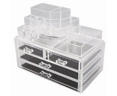 TRESKO® Cosméticos Organizador acrílico para Maquillaje, Joyas, Accesorios, joyero, Caja de Almacenamiento con cajones para pintalabios (4 Cajones - JWYOGR-003)