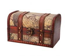 Hilitand Cofre del Tesoro Pirata Vintage Hecho a Mano Caja de Madera Decorativa Caja de Almacenamiento de la joyería de la baratija decoración del hogar(Map)