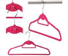 Percha ahorra espacio con gancho central para colgar percha en cascada, tacto aterciopelado, antideslizante, y barra para pantalones. 45cm (10 unidades)