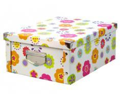 Zeller 17853 Caja de almacenaje de cartón Multicolor (Blumen) 40 x 33 x 17 cm