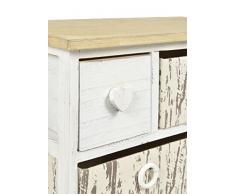 ts-ideen - Tocador (con espejo, taburete y cesto), diseño rústico antiguo, color blanco