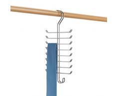 Bliss InterDesign Classico Colgador vertical, percha múltiple de metal cromado con 16 ganchos para organizar cinturones y ordenar corbatas, plateado